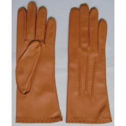 Art. R162 Rękawiczki skórzane damskie, ręcznie szyte.