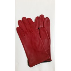 Rękawiczki damskie skórzane czerwone z czarną lamówką