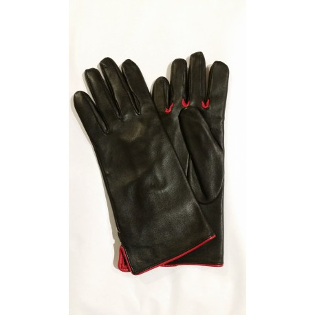 Rękawiczki damskie skórzane czarne z czerwoną lamówką