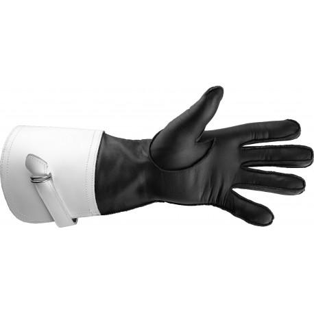 Art. R037/L Rękawice motocyklowe skórzane letnie z białymi mankietami