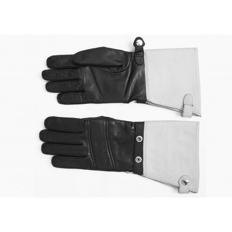 Art. R037 / L leather motorcycle summer with white cuffs